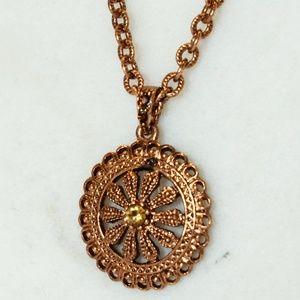 1928 Copper Pendant with Amber stone